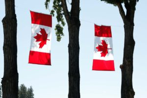Canada day flags from clothesline