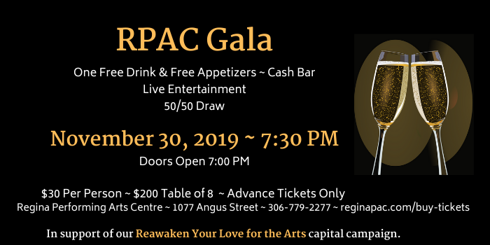 Regina Performing Arts Centre's Gala Logo